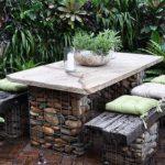 Tavolino da Giardino con Gabbioni per Arredo Giardino